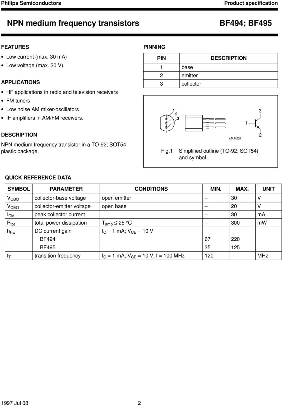 Data Sheet Bf494 Bf495 Npn Medium Frequency Transistors Discrete The If Circuit Of Radio Amplifier Handbook Halfpage1 2 3 1 Description Transistor In A To