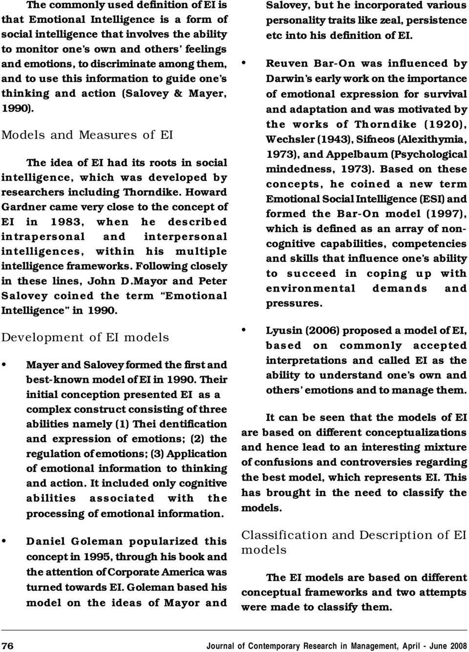 Concepts and Measures of Emotional Intelligence A Research