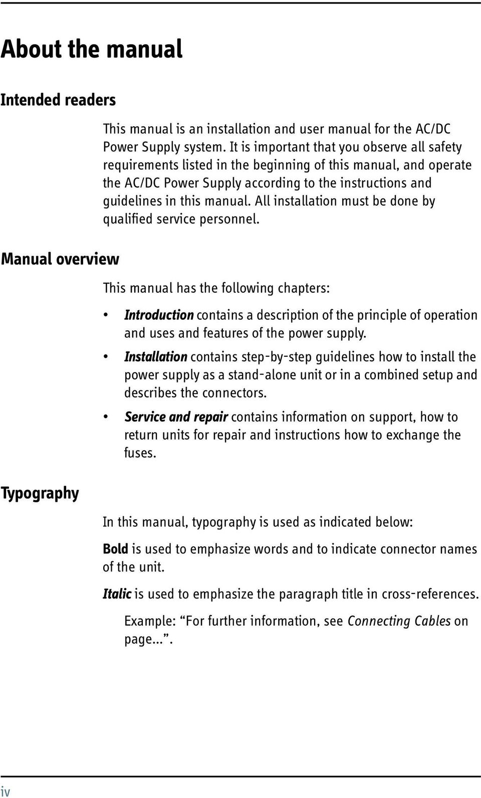 Dc Power Supplies Introduction Installation Manual Ac Supply Pdf All Must Be Done By Qualified Service Personnel