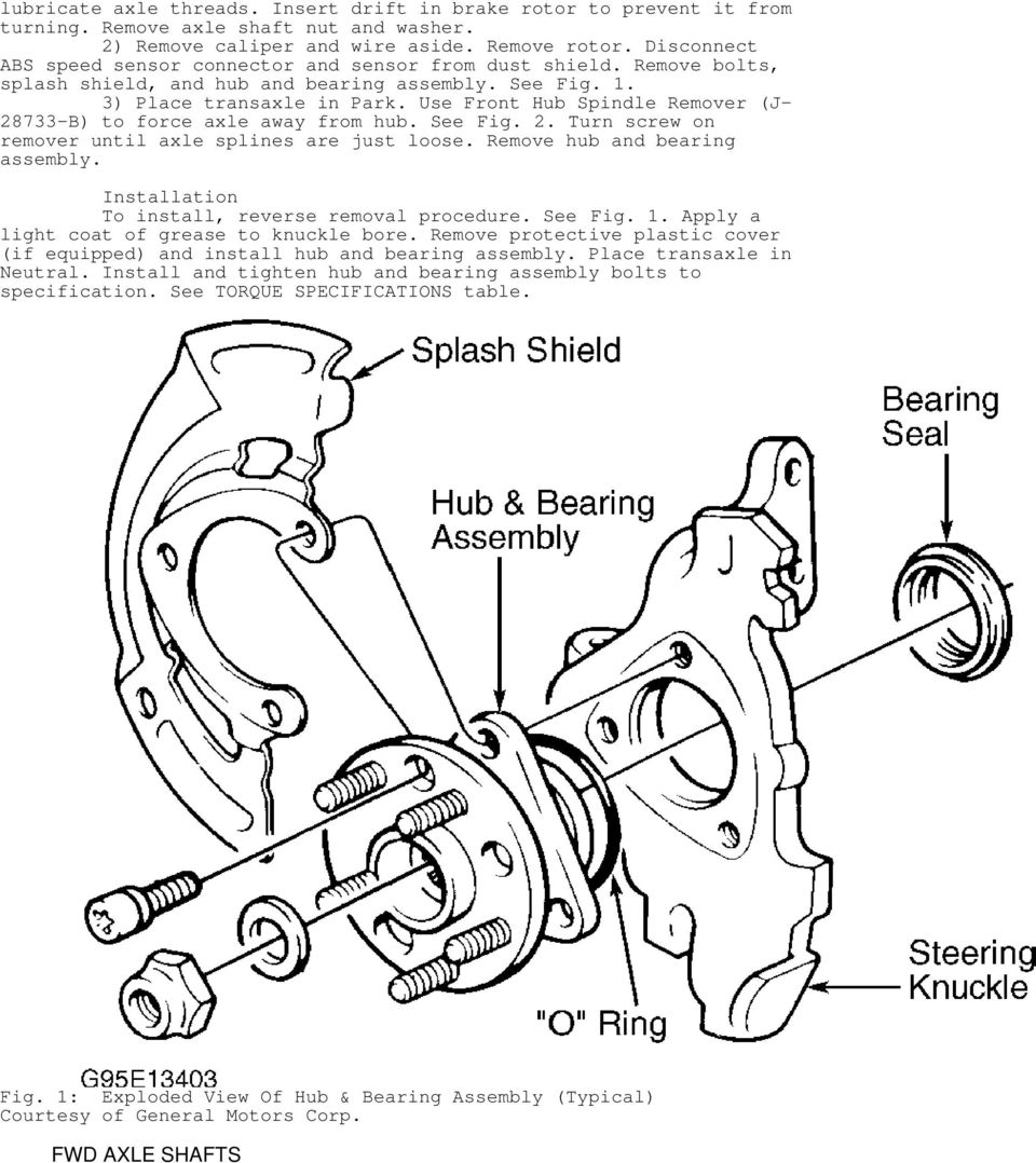Use Front Hub Spindle Remover (J- 28733-B) to force axle away from hub. See Fig. 2. Turn screw on remover until axle splines are just loose. Remove hub and bearing assembly.