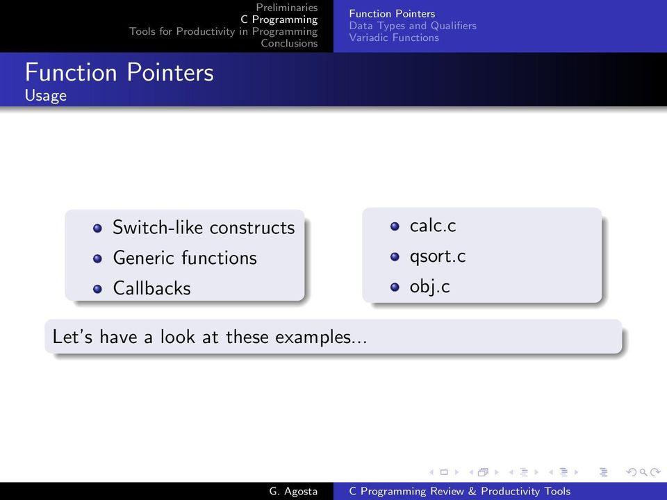 constructs Generic functions Callbacks calc.