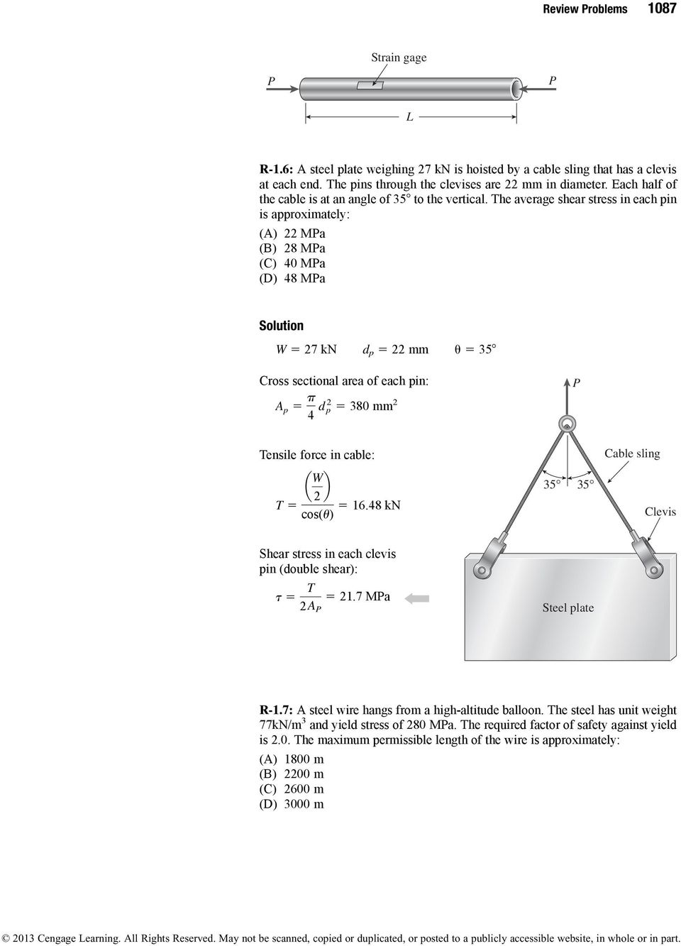 Review Problems Solutions James M Gere Barry J Goodno Pdf Gt Galleries For How To Draw Shear Force And Bending Moment Diagram The Average Stress In Each Pin Is Approximately Ma 8