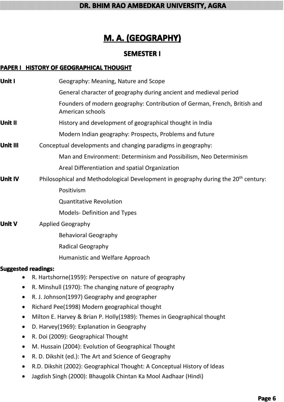 M A  GEOGRAPHY (SEMESTER-WISE) - PDF