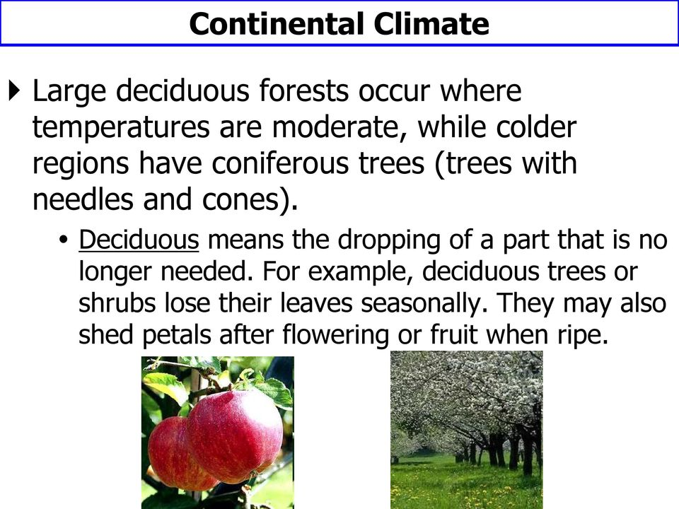 Deciduous means the dropping of a part that is no longer needed.