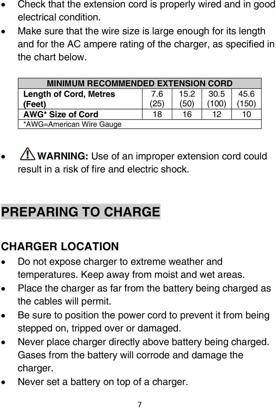 2 8 12 Amp Smart Charger Owner S Manual Pdf Net American Wire Gauge 5 Minimum Recommended Extension Cord Length Of Metres Feet 76 25