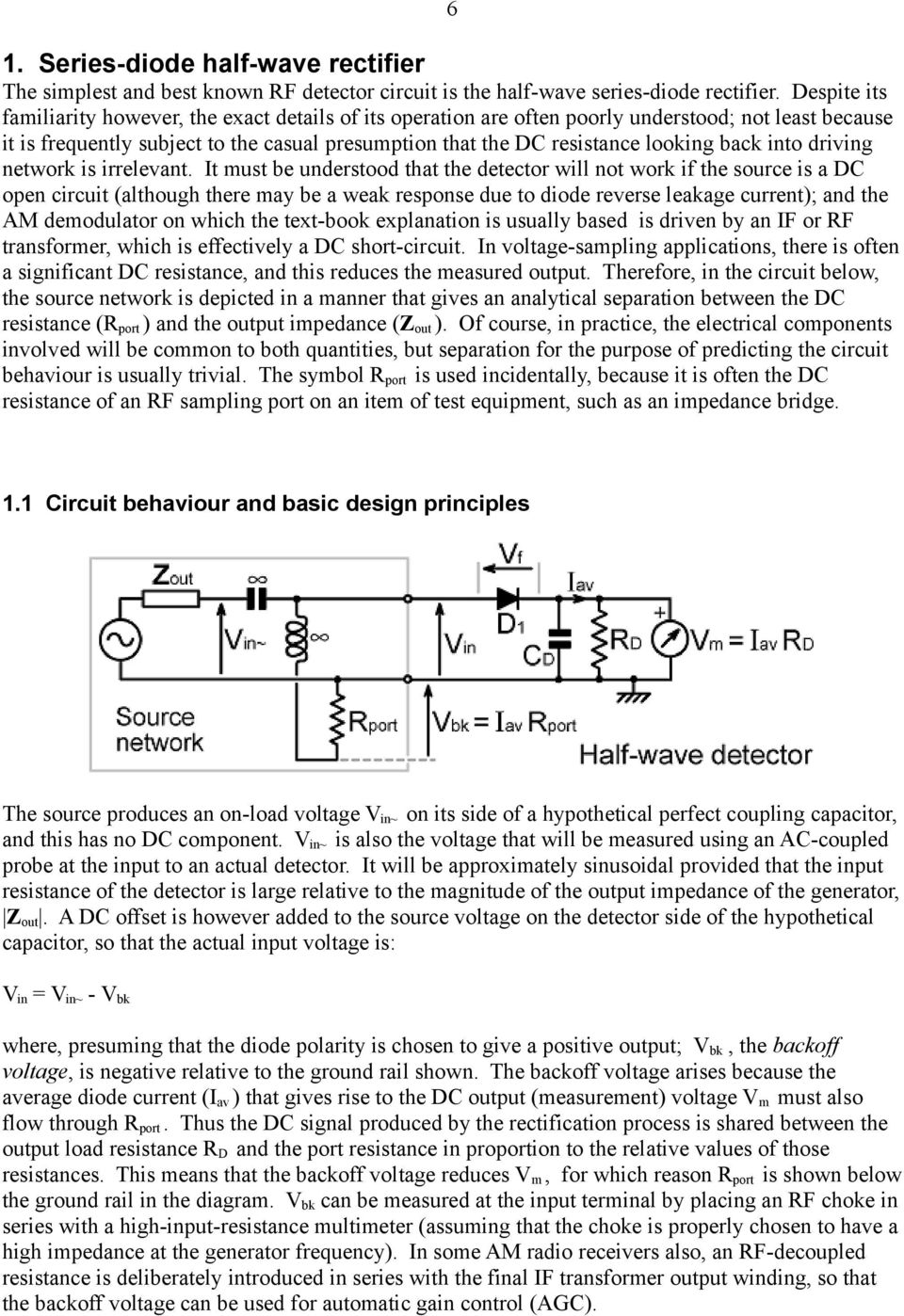 Diode Detectors For Rf Measurement Part 1 Rectifier Circuits Simple Envelope Detector Circuit Is Shown In The Back Into Driving Network Irrelevant