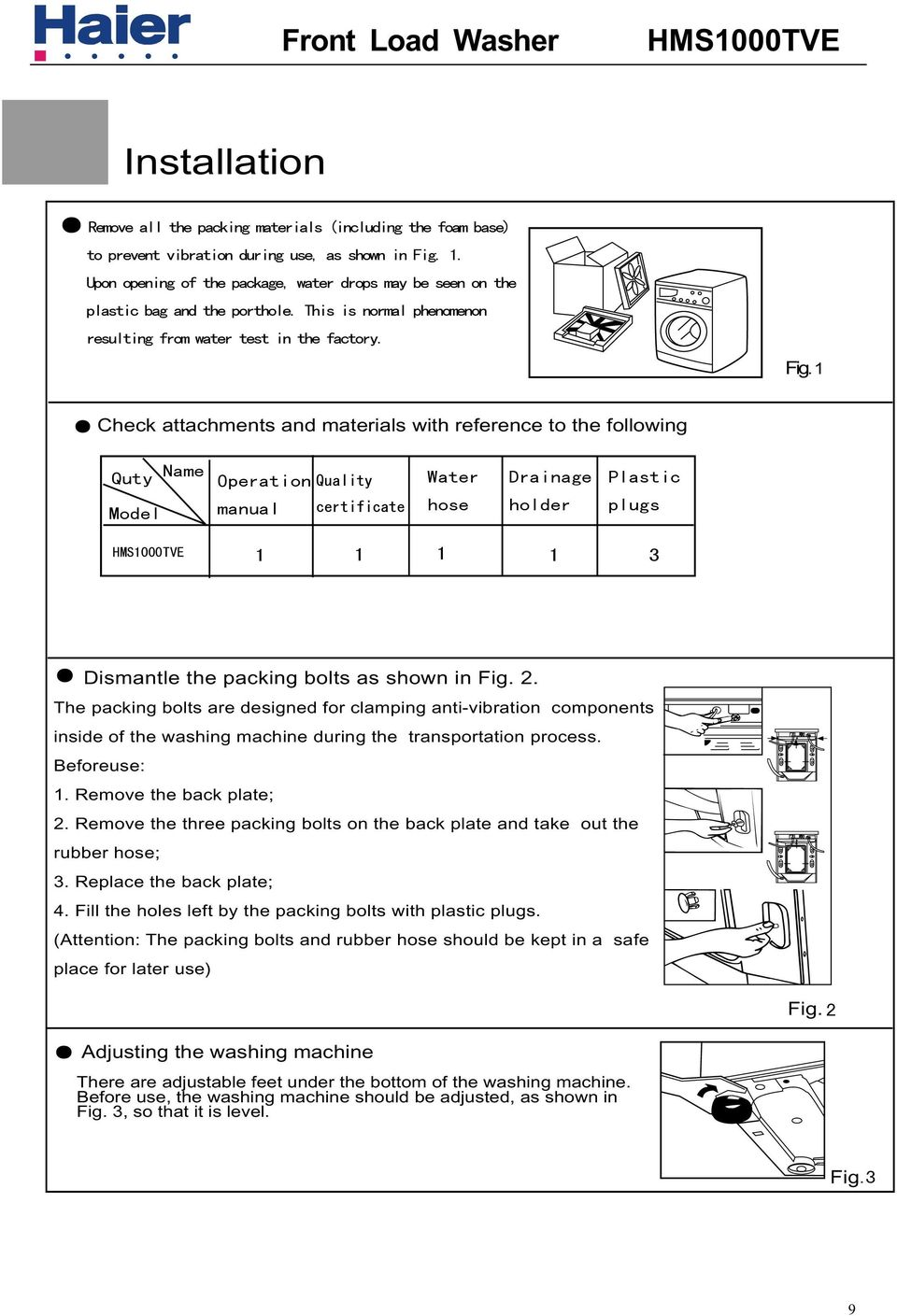 Service Manual Model Hms1000tve Features Code Front Loading Haier Washing Machine Wiring Diagram Remove The Three Packing Bolts On Back Plate And Take Out Rubber Hose 11 Hms700tve Installation Joining Inlet To
