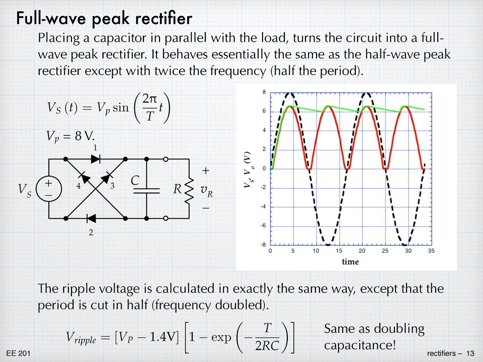 the period) ) = sin V p = 8 V 1 V S 3 R 4 C v R 2 The ripple voltage is calculated in exactly the same way,