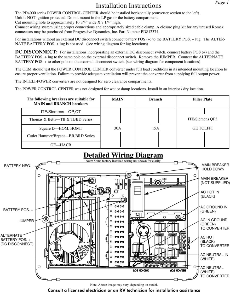 Installation And Operation Guide For Pd4000 Series Power Control Wfco 55 Amp Converter Wiring Diagram A Closure Plug Kit Any Unused Romex Connectors May Be Purchased From Progressive Dynamics