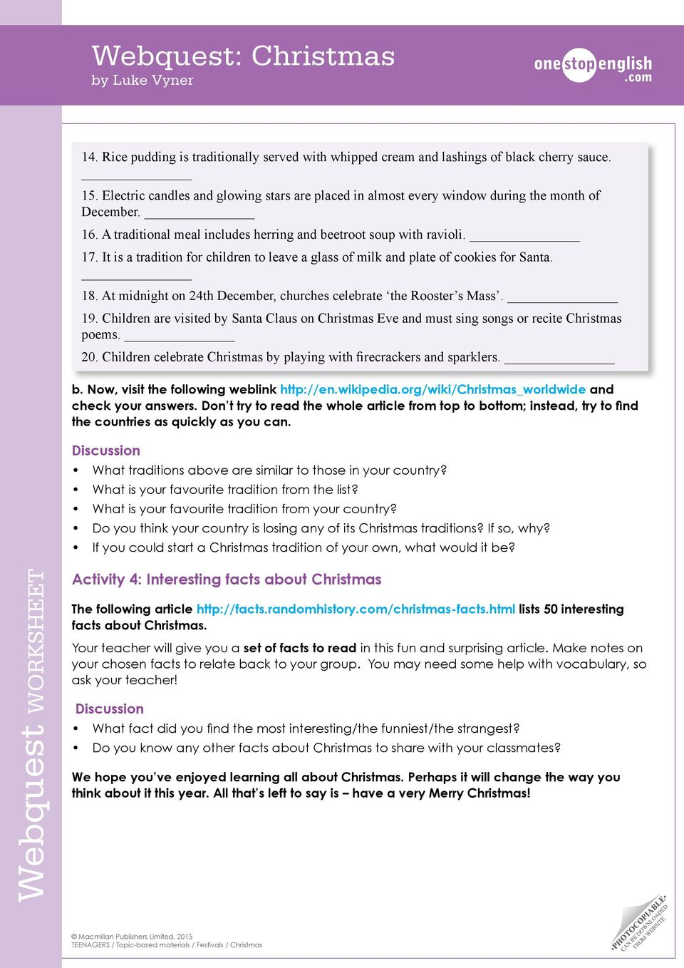 Webquest WORKSHEET. Webquest: Christmas by Luke Vyner. Activity 1 ...