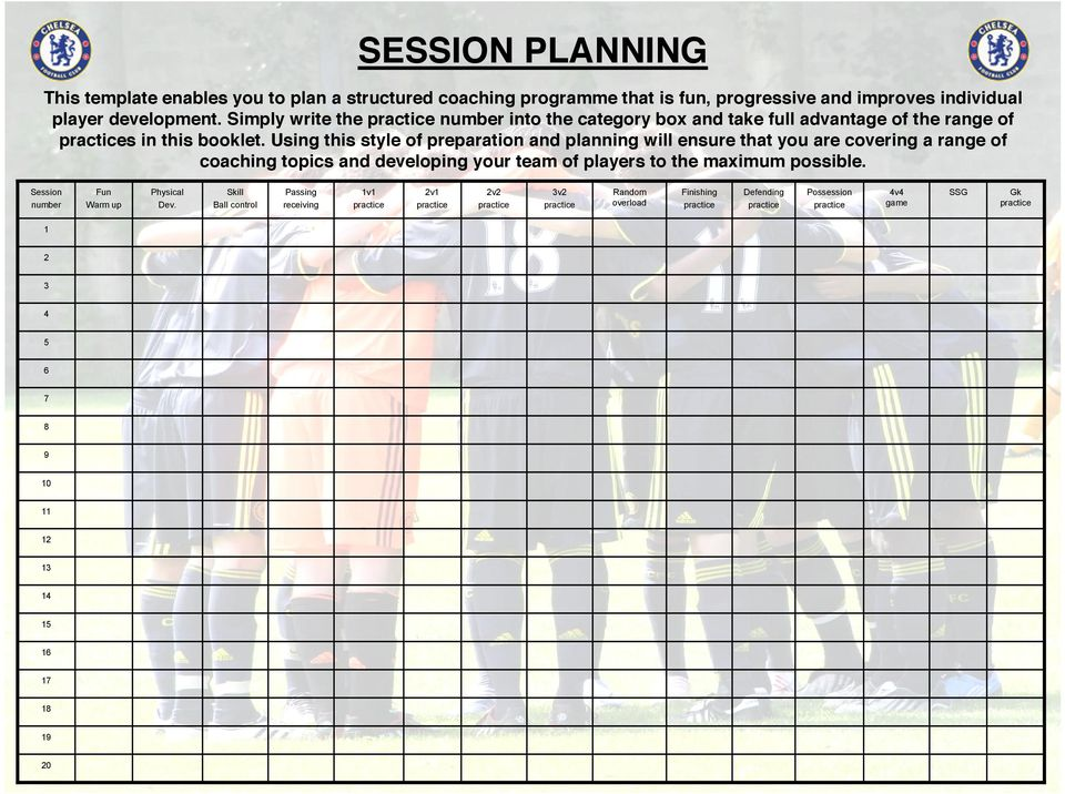 Using this style of preparation and planning will ensure that you are covering a range of coaching topics and developing your team of players to the maximum possible.