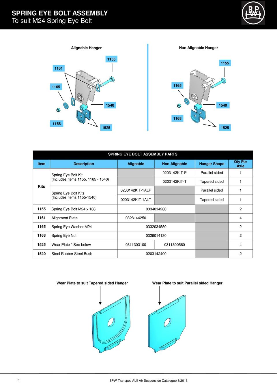 Bpw Transpec Air Light Ii Series Suspensions Spare Parts Wiring Diagram For Sign Tapered Sided 1 0203142kit 1alp Parallel 1alt 1155