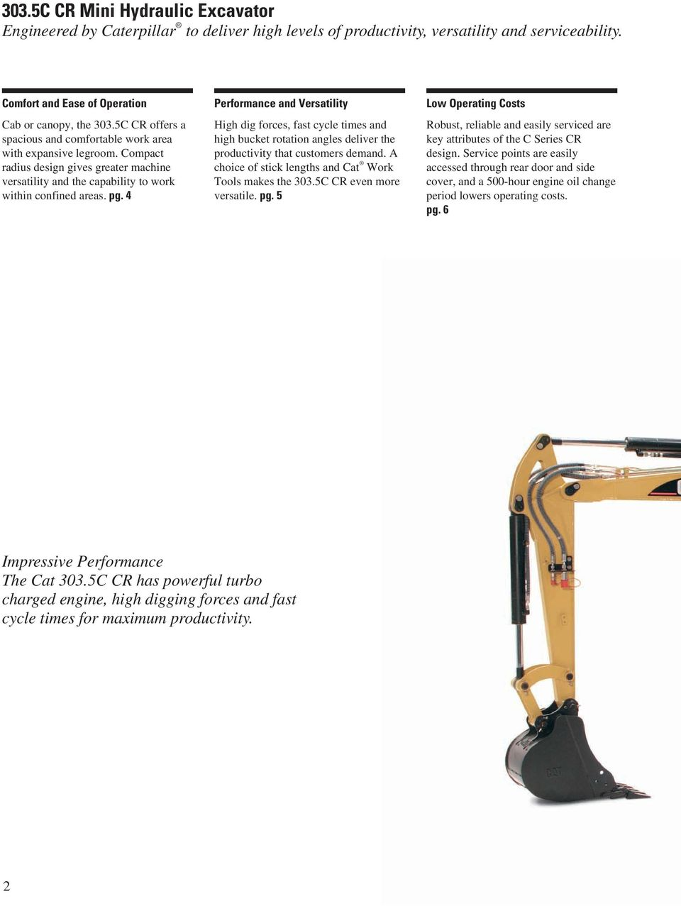 303 5C CR Mini Hydraulic Excavator - PDF