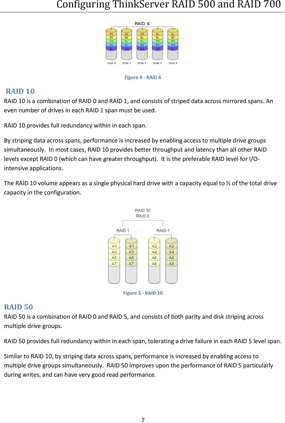 In most cases, RAID 10 provides better throughput and latency than all other RAID levels except RAID 0 (which can have greater throughput).