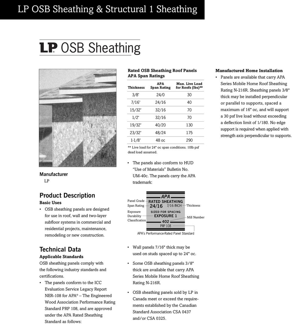 Lp Osb Sheathing Structural 1
