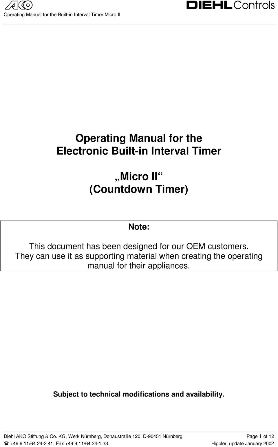 Operating Manual For The Electronic Built In Interval Timer Micro Heating Element With 240 Volts And Buzzer 120 They Can Use It As Supporting Material When Creating Their Appliances