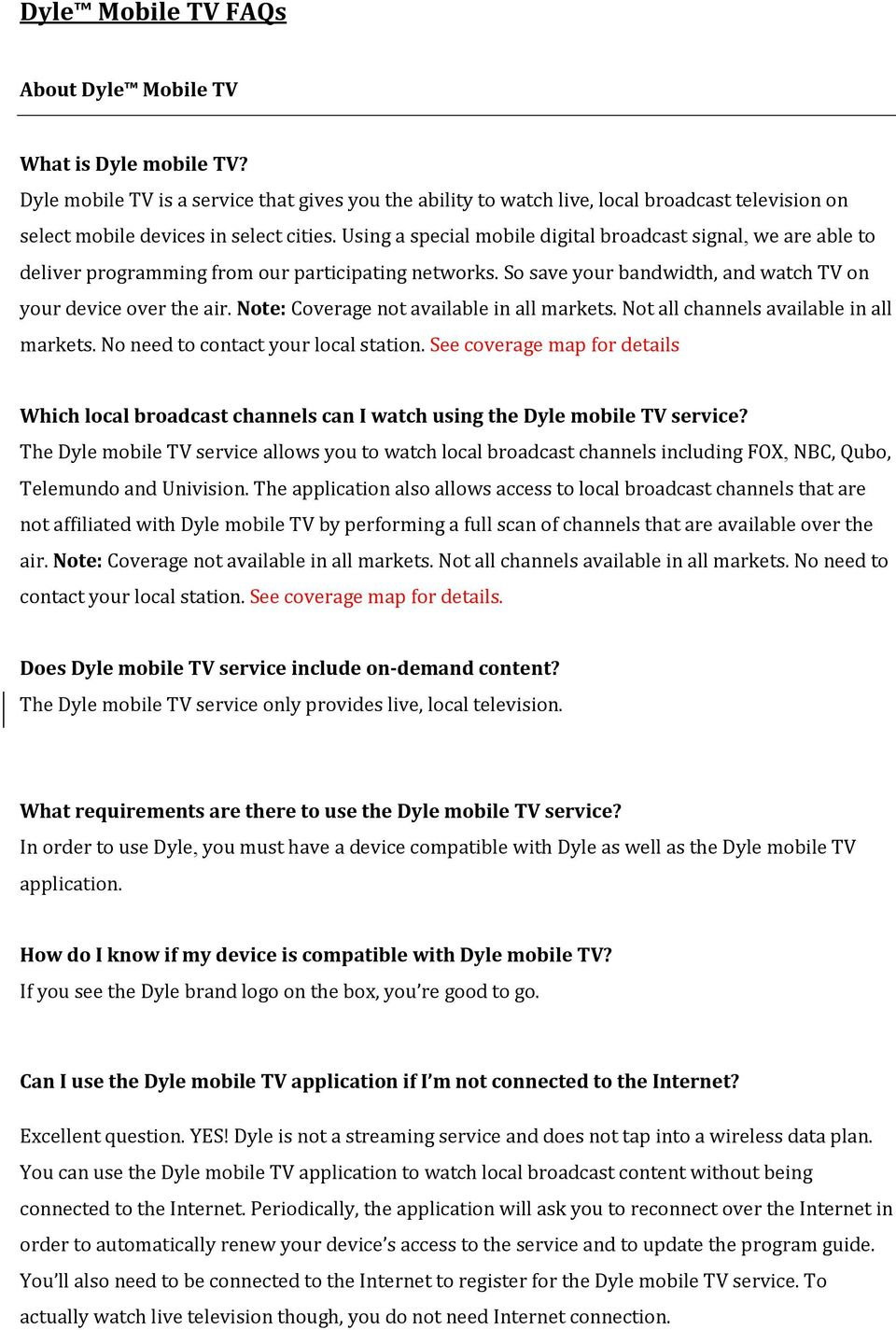 Which local broadcast channels can I watch using the Dyle mobile TV on