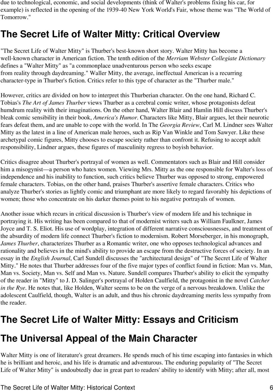 Essay For English Language Walter Mitty Has Become A Wellknown Character In American Fiction American Dream Essay Thesis also Essay On High School Experience The Secret Life Of Walter Mitty  Pdf English Essays Book