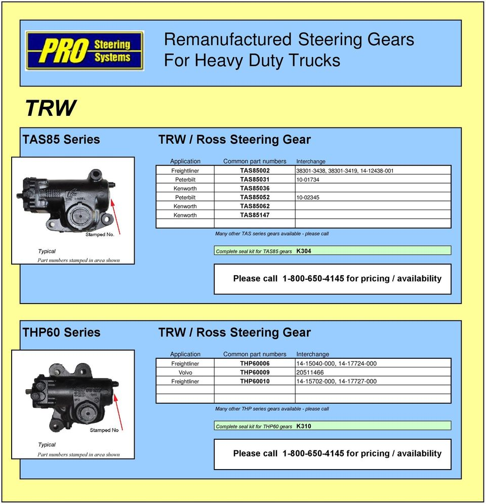Remanufactured Steering Gears For Heavy Duty Trucks  Application