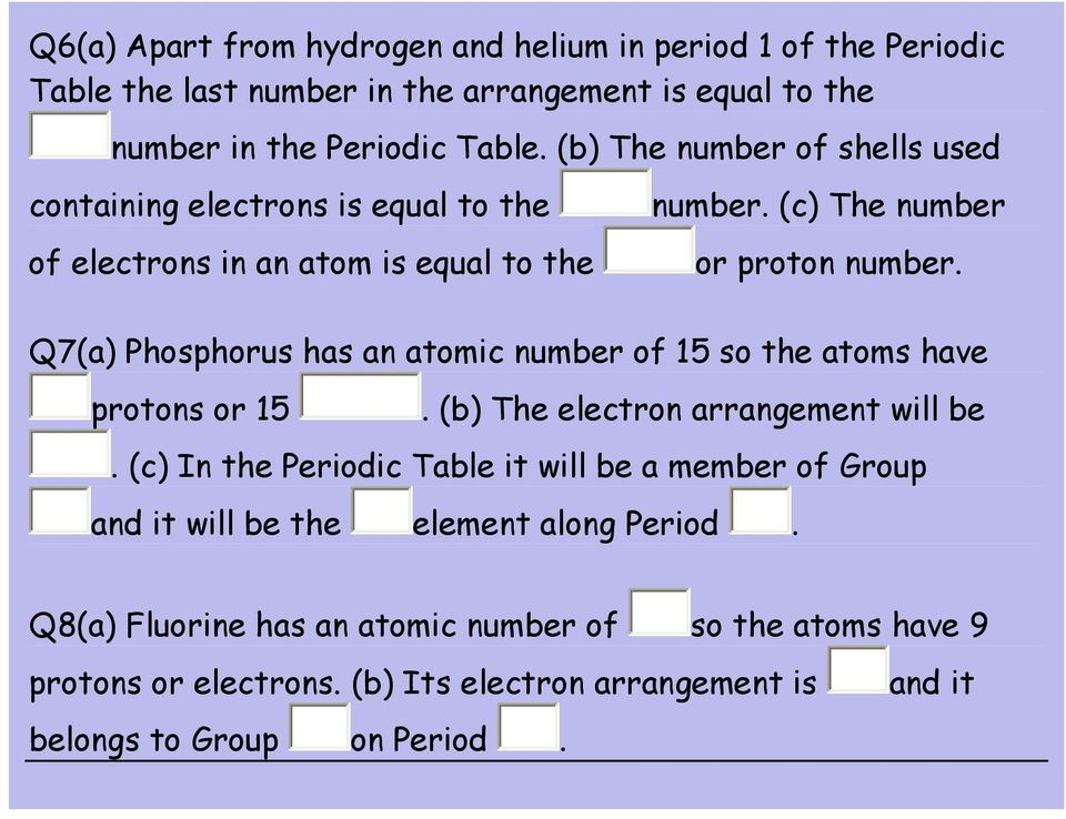 atomic number of 15 so the atoms have protons or 15 (b) The electron arrangement will be (c) In the Periodic Table it will be a member of Group and it will be the