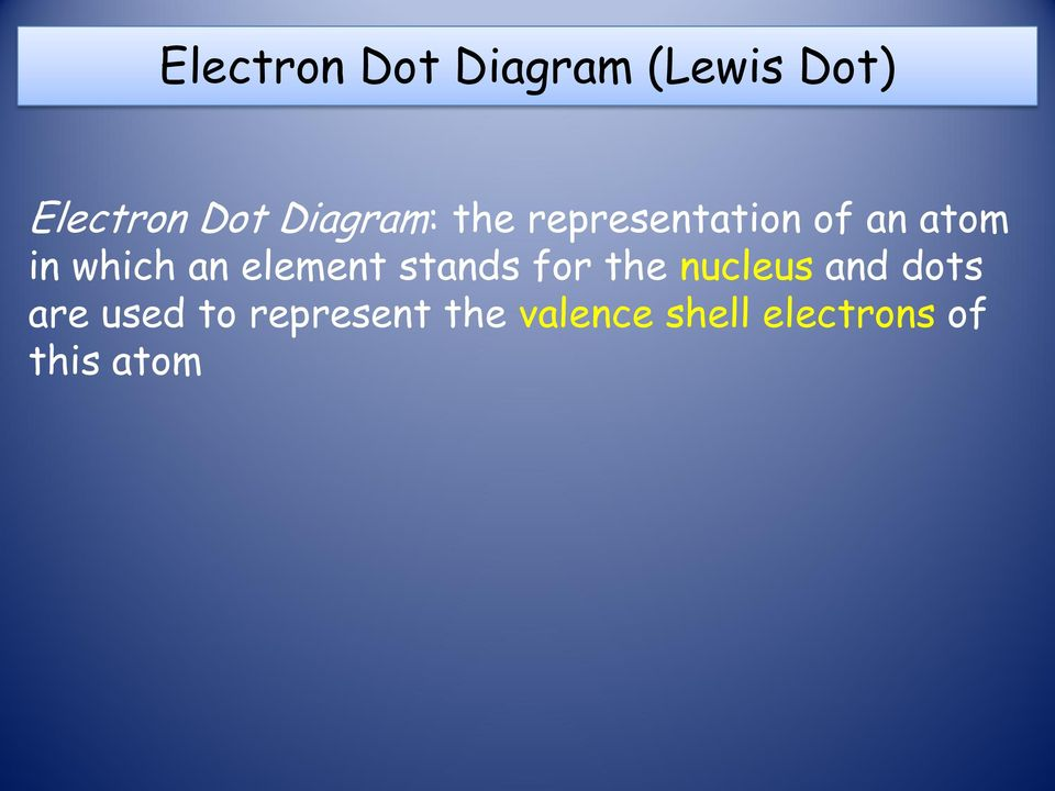 an element stands for the nucleus and dots are