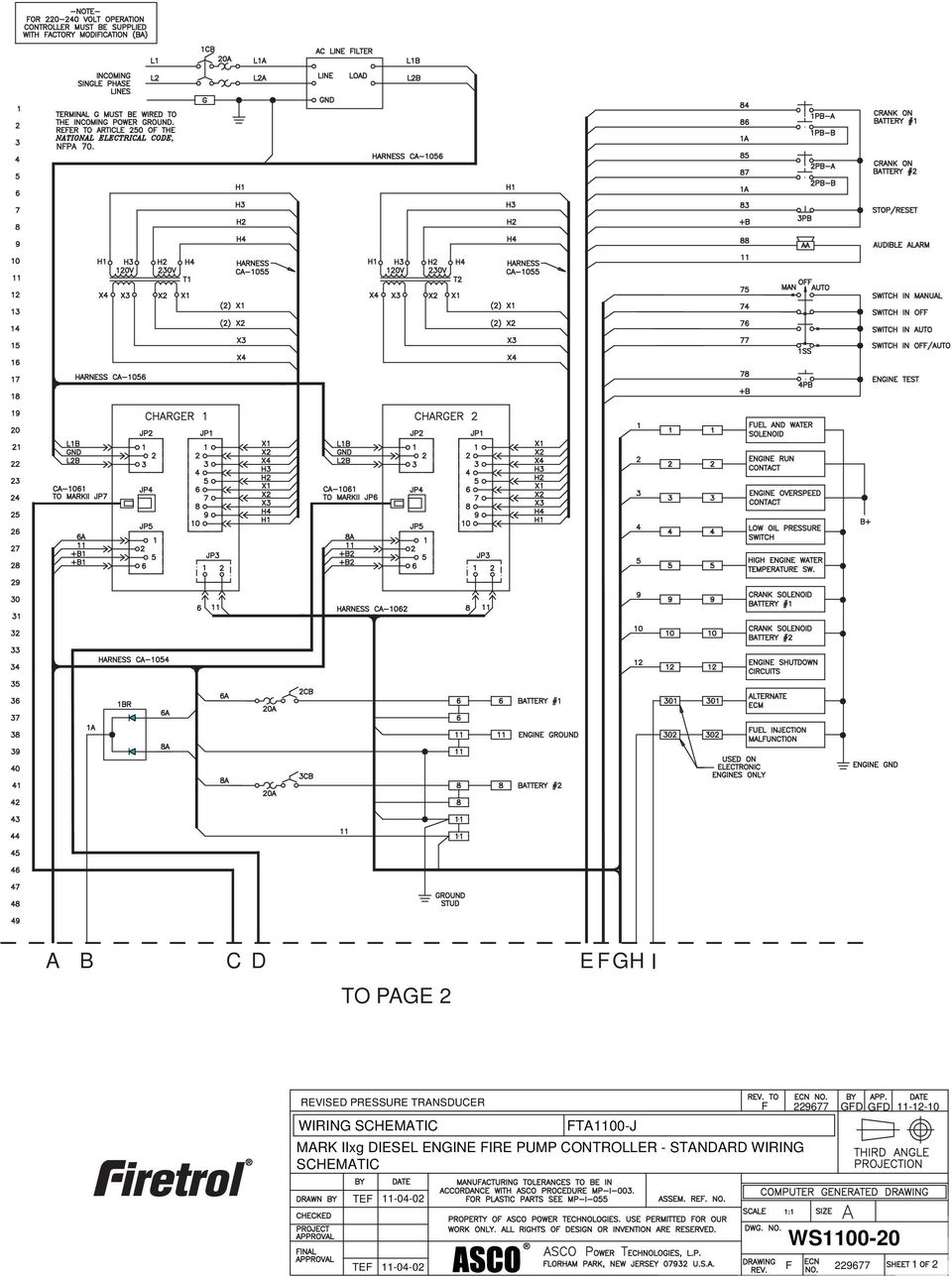 Fta1100 J Diesel Engine Fire Pump Controllers Standard Submittal Wiring Diagram Iixg Controller