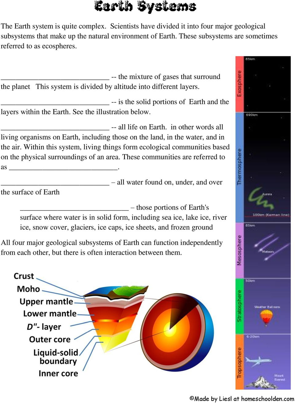 -- is the solid portions of Earth and the layers within the Earth. See the illustration below. -- all life on Earth.