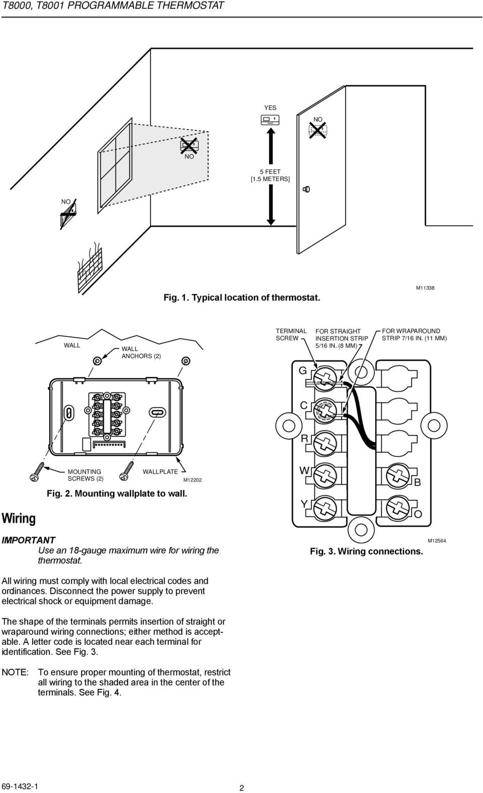 Honeywell T8001c Thermostat Wiring Diagram Thermostats Th8110u1003 On T8000 T8001 Programmable Pdf