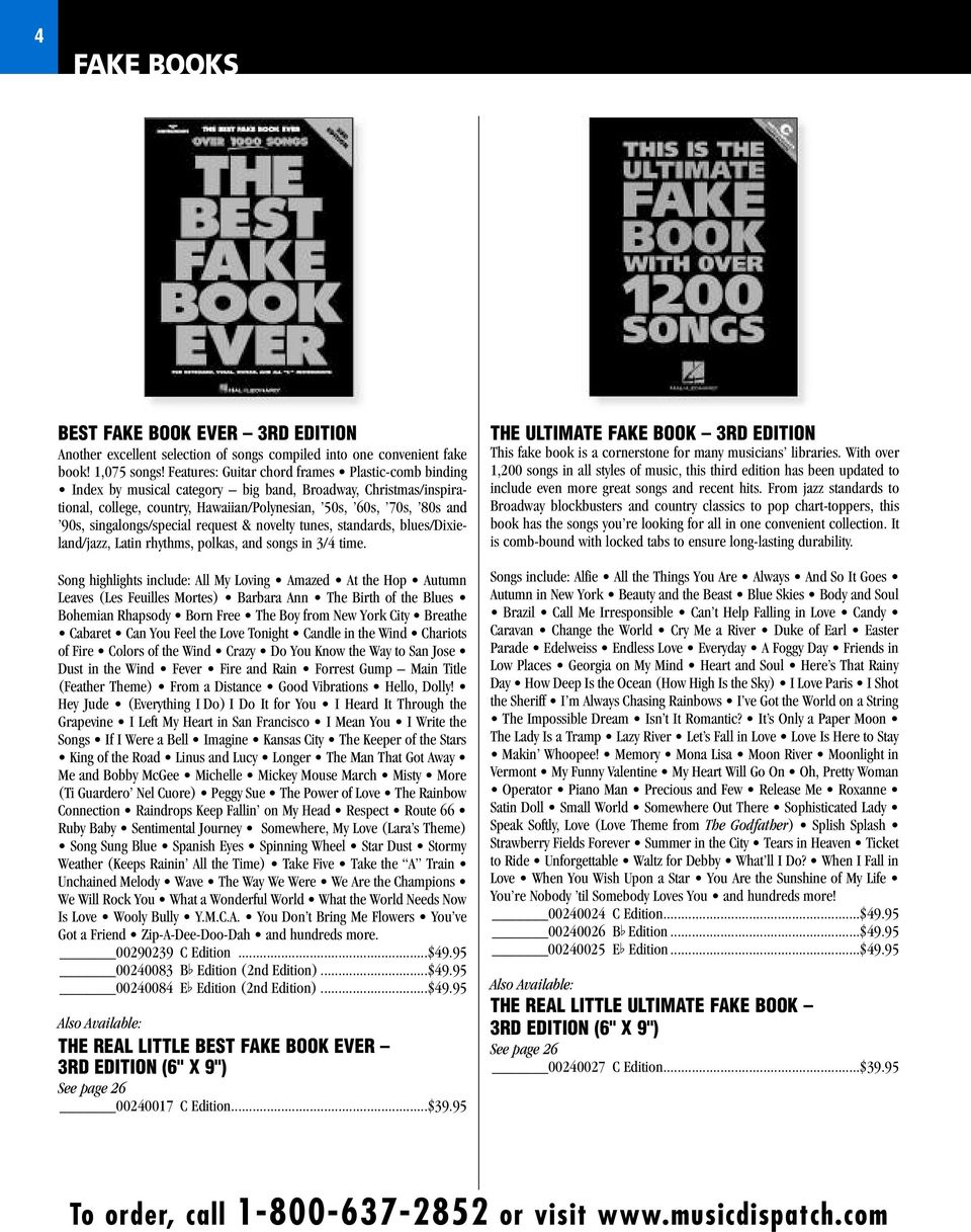 Music Dispatch FAKE BOOKS. Catalog. ORDER TODAY! - PDF