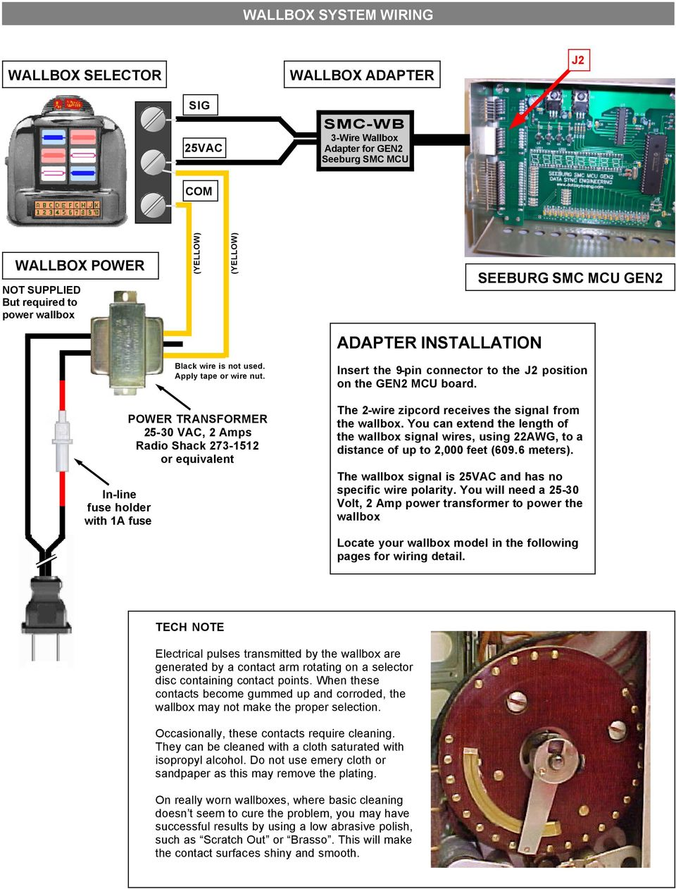 3-Wire Wallbox Adapter For Seeburg SMC jukeboxes with the GEN2 MCU - PDF