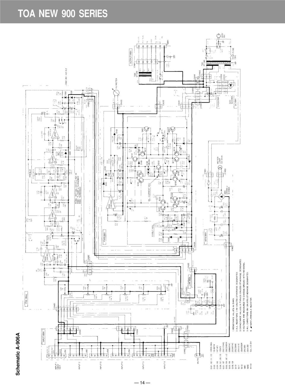 Toa New 900 Series Mixer Power Amplifier Pdf Msd 8460 Wiring Diagram 14 Schematic A 906a