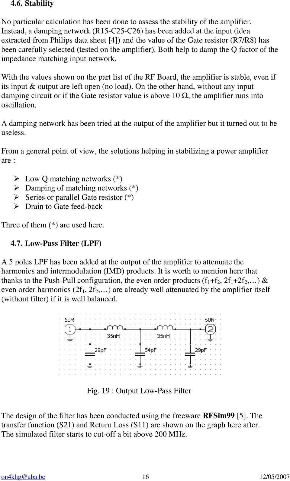 Design and building of a 300 W MOSFET Push-Pull Power Amplifier for