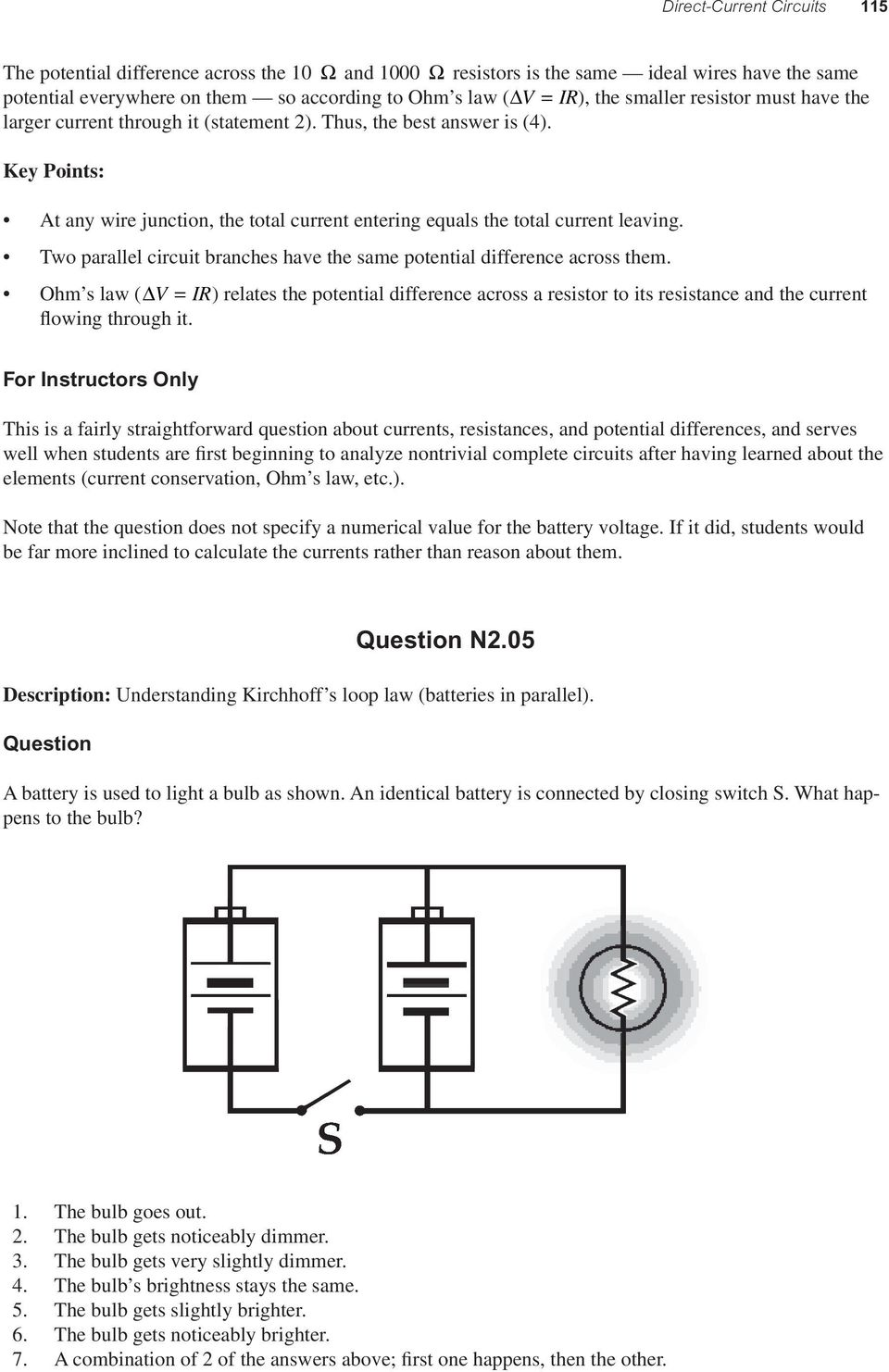 Direct Current Circuits Pdf Parallel Circuit Bulbs Are In Two Branches Have The Same Potential Difference Across Them Ohm S Law