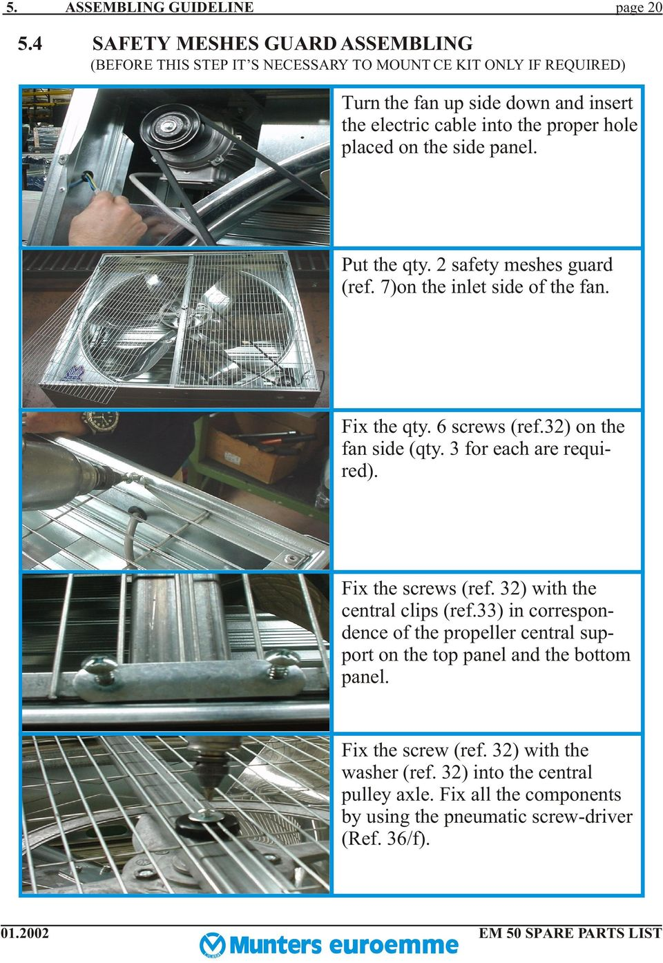 Spare Parts List And Assembling Guideline For Em 50 Fan Pdf 2002 Mini Cooper S Engine Diagram Placed On The Side Panel Put Qty Safety Meshes Guard Ref