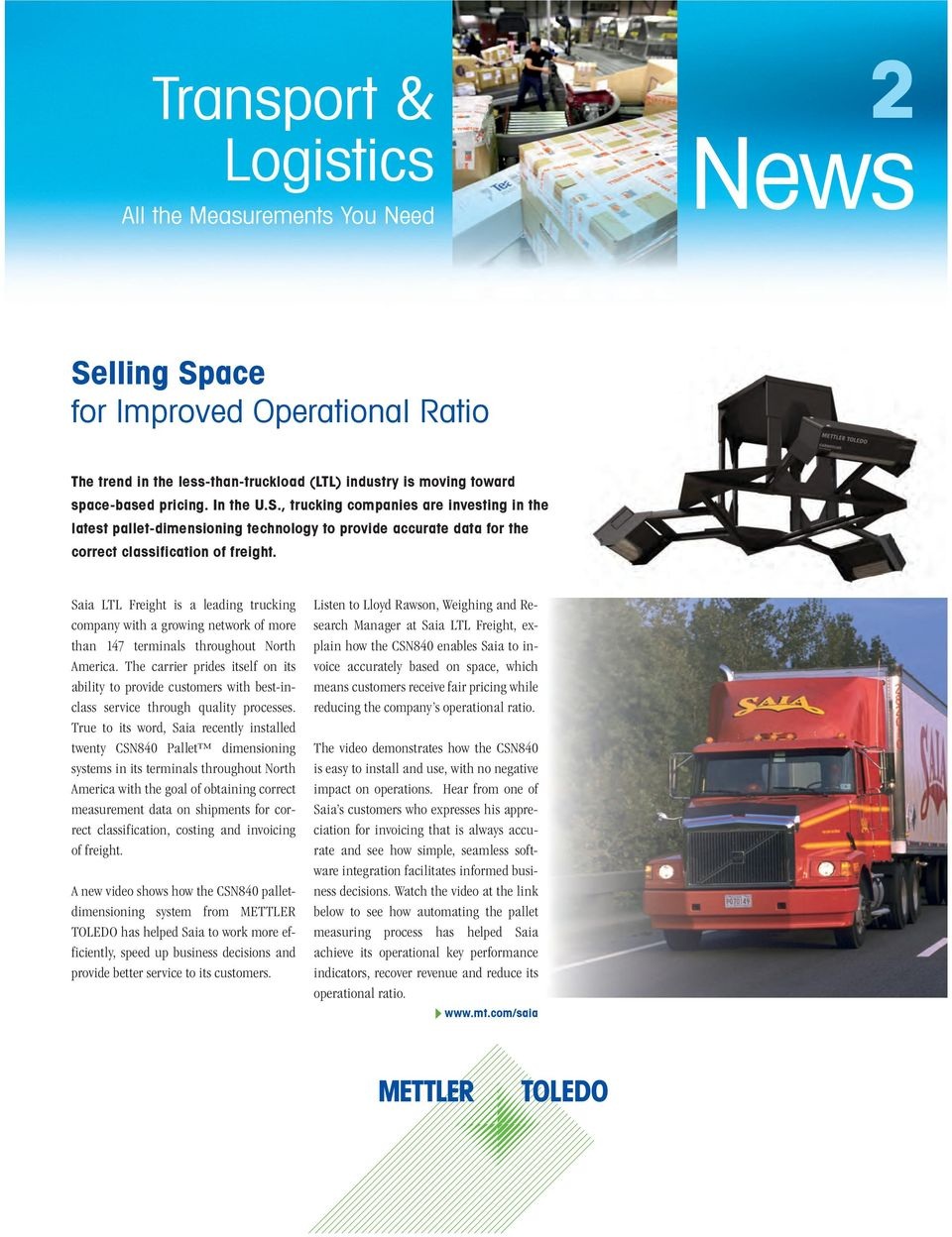 News  Transport & Logistics  Selling Space for Improved Operational