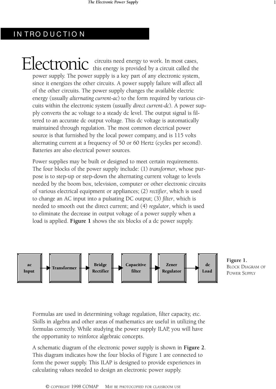 The Electronic Power Supply 1 Problem Statement 4 Situations 2 Block Diagram Dc Changes Available Electric Energy Usually Alternating Current Ac To
