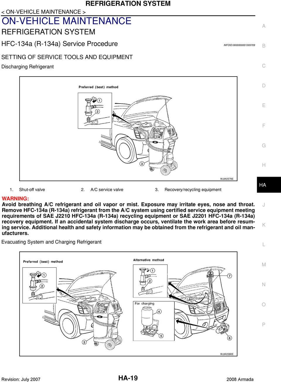 Heater Air Conditioning System Pdf 1995 Mitsubishi Montero Sr 3500 Engine Compartment Fuse Box Diagram Remove 134a R Refrigerant From The Using Certified Service