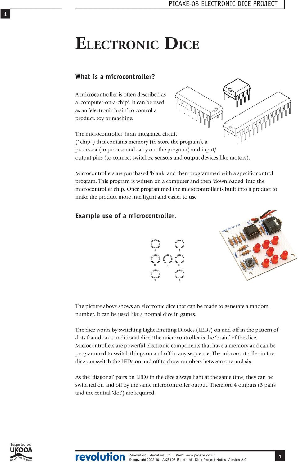Example Use Of A Microcontroller Revolution Education Ltd Web Pdf 115 Projects Diy Circuit Board Falsh Toy Integrated Electronic Sensors And Output Devices Like Motors Microcontrollers Are Purchased Blank Then