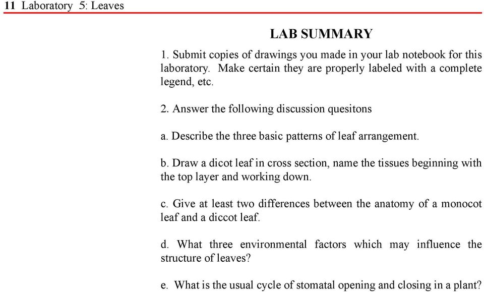 Describe the three basic patterns of leaf arrangement. b. Draw a dicot leaf in cross section, name the tissues beginning with the top layer and working down.