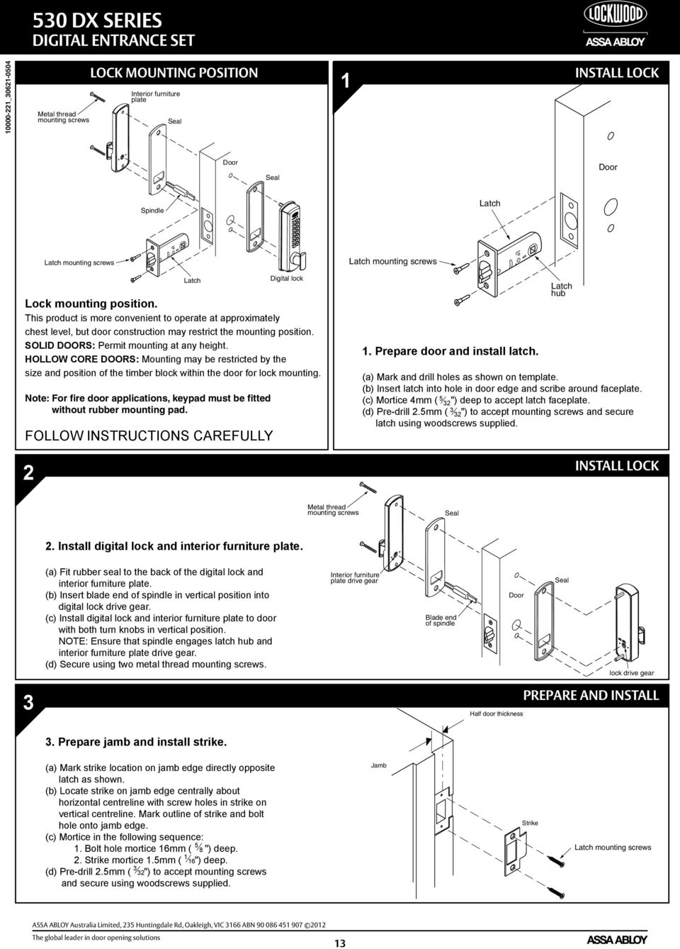 Dx Mechanical Digital Door Locks Service Manual Assa Abloy The Diagram How To Replace A Defective Sliding Latch Ford This Product Is More Convenient Operate At Approximately Chest Level But Construction May