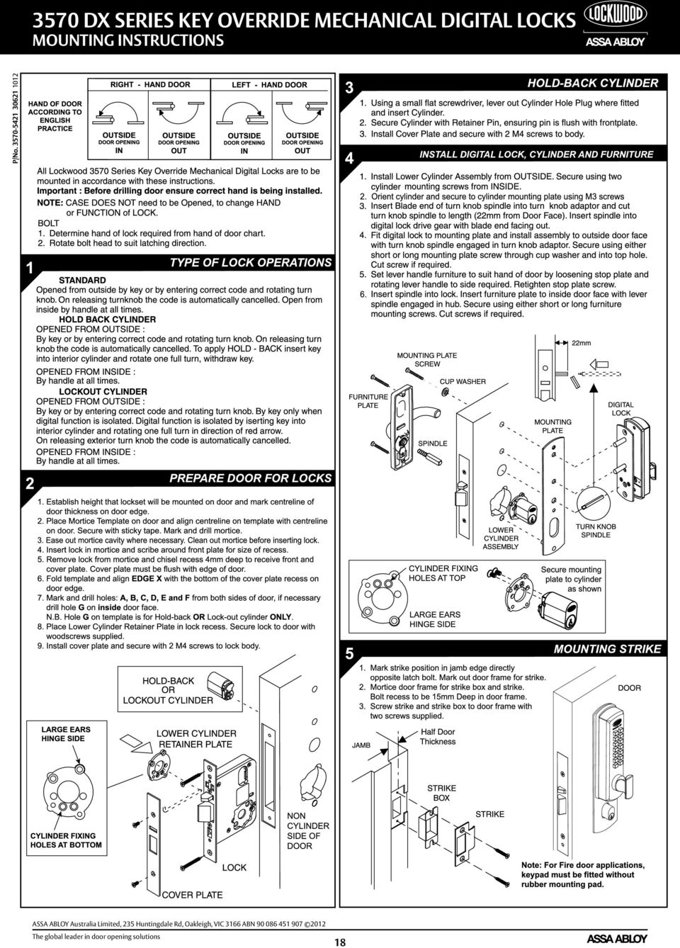 Dx Mechanical Digital Door Locks Service Manual Assa Abloy The Diagram How To Replace A Defective Sliding Latch Ford 235 Huntingdale Rd Oakleigh Vic 3166 Abn 90 086 451