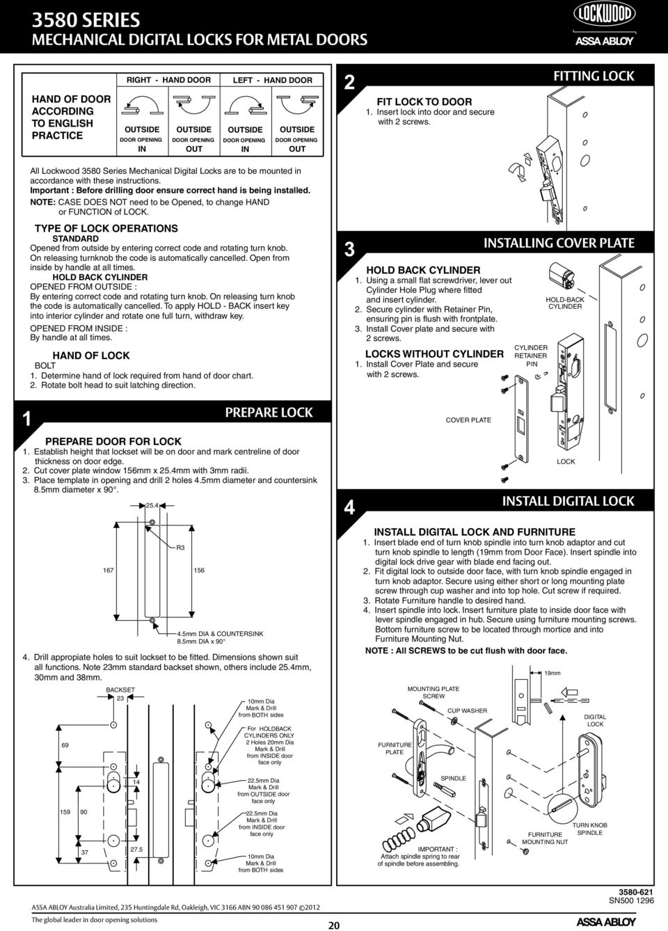 Dx Mechanical Digital Door Locks Service Manual Assa Abloy The Diagram How To Replace A Defective Sliding Latch Ford Fitting Lock All Lockwood 3580 Series Are Be Mounted In Accordance With