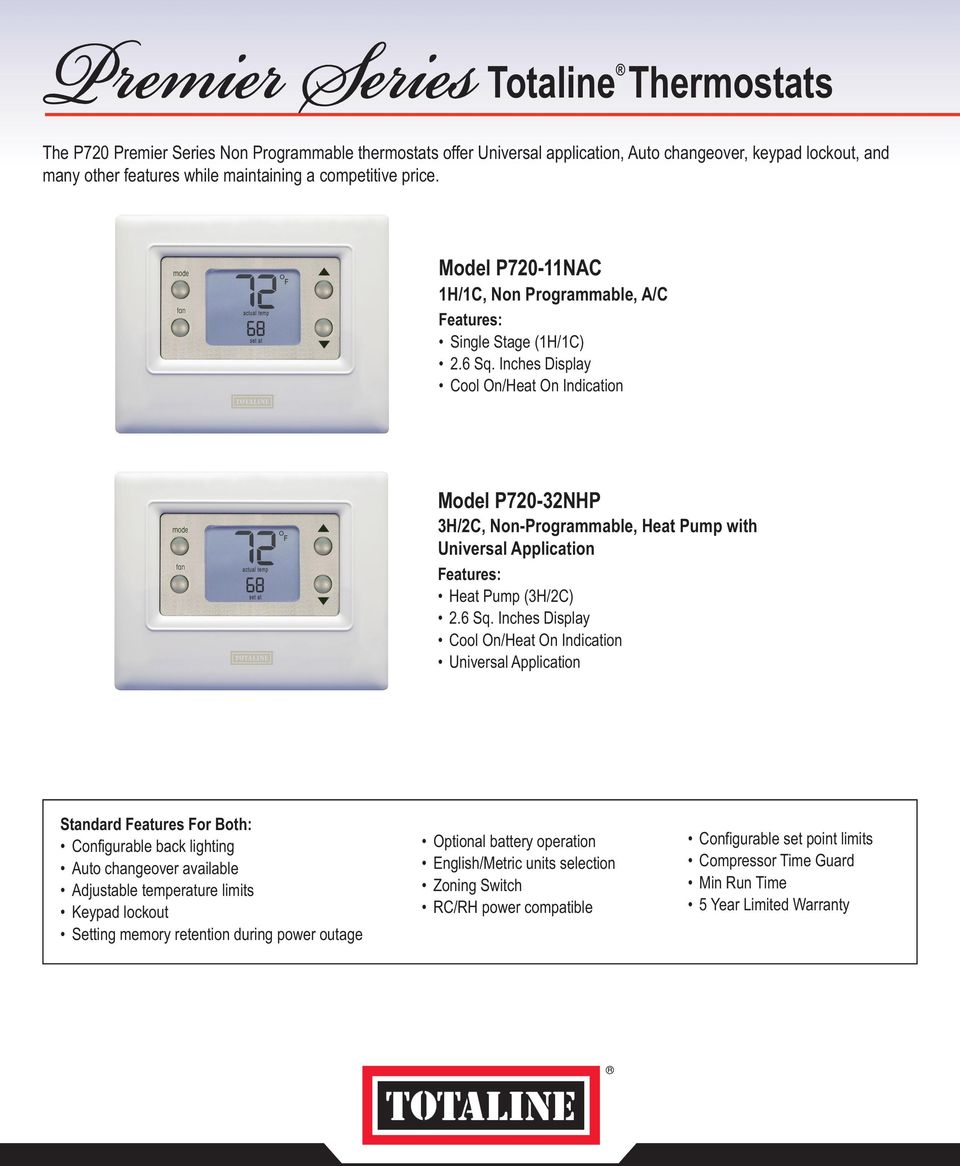 The totaline premier series of thermostats consists of programmable model p720 11nac 1h1c non programmable ac 26 sq asfbconference2016 Image collections