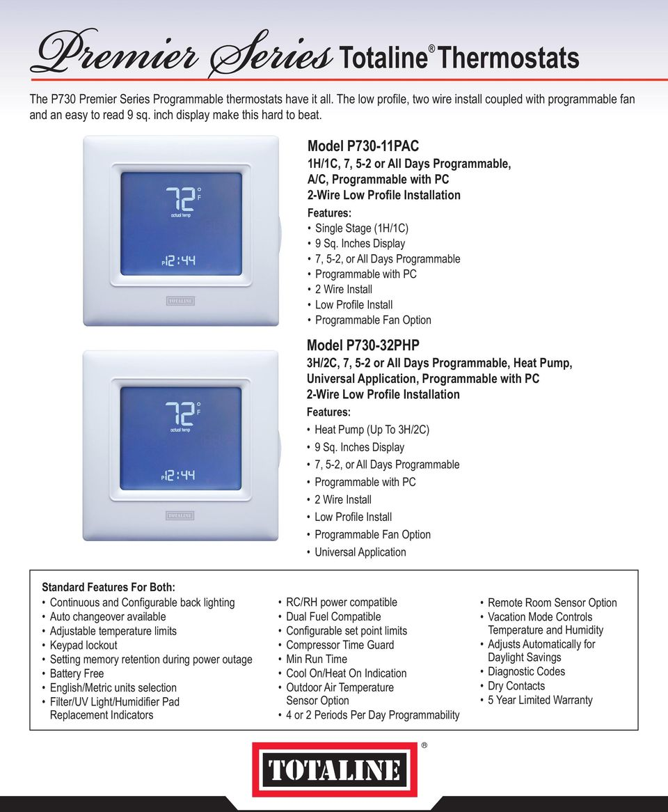 The totaline premier series of thermostats consists of programmable inches display 7 5 2 or all days programmable programmable with pc programmable asfbconference2016 Image collections