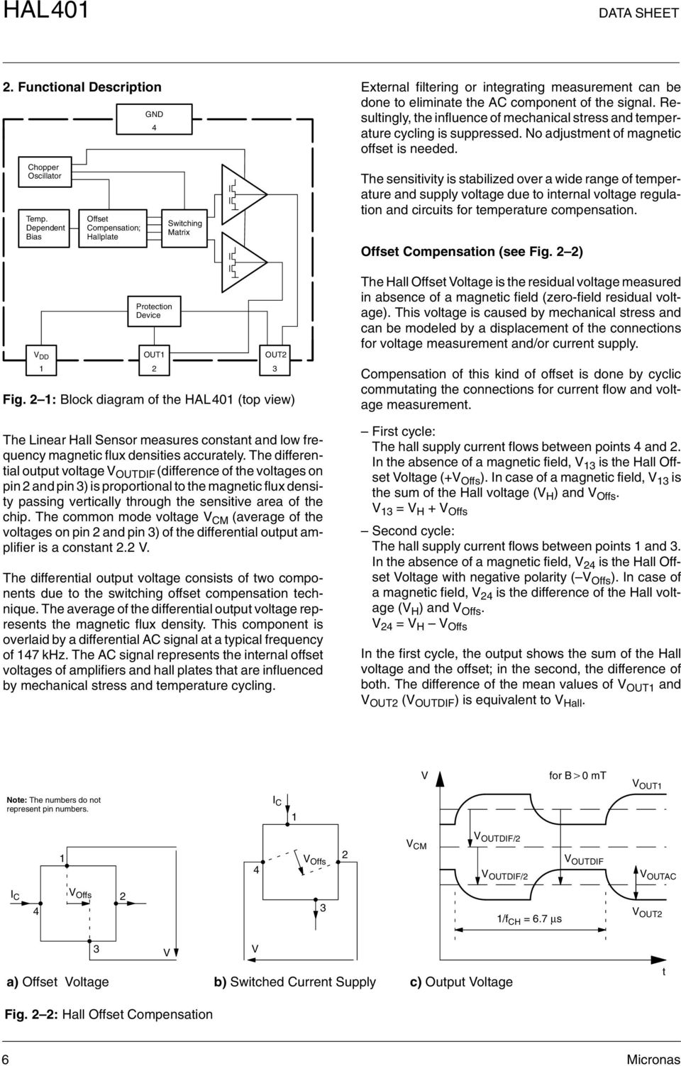 Hardware Documentation Data Sheet Hal 401 Linear Hall Effect Magnetic Field Sensor Ad22151 Magneticsensor Sensorcircuit Dependent Bias Offset Compensation Hallplate Switching Matrix The Sensitivity Is Stabilized Over A Wide Range