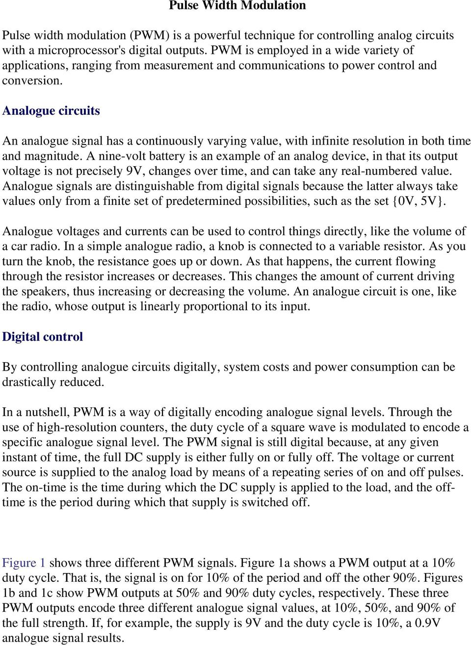 Pulse Width Modulation Pdf Pwm For Dc Motor Speed And Led Brightness Analogue Circuits An Signal Has A Continuously Varying Value With Infinite Resolution In Both