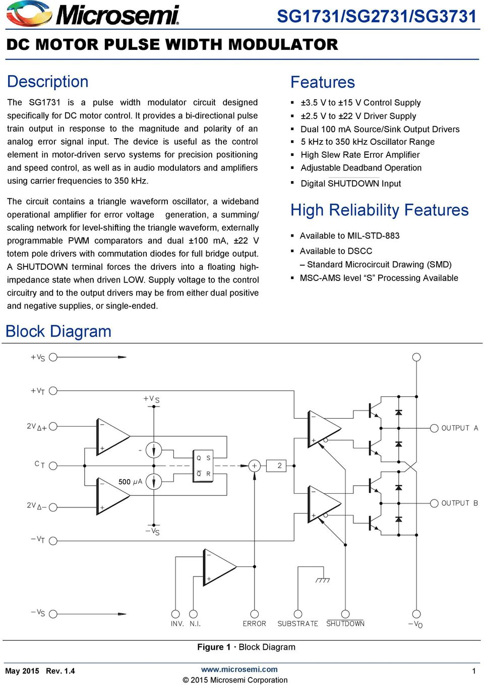 Sg1731 Sg2731 Sg3731 Description Features High Reliability 22w Amplifier For 12v Power Supply Systems The Device Is Useful As Control Element In Motor Driven Servo Precision