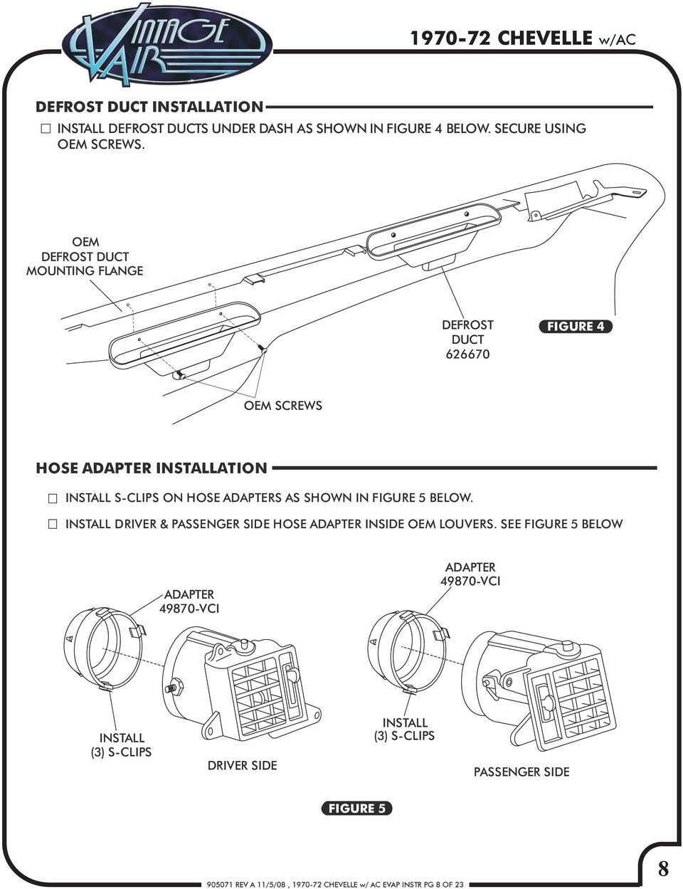 Chevelle W Factory Air Rev A 11 5 08 Ac Evap Instr Pg C Compressor Relay Wiring Diagram Pot In Figure Below Install Driver Passenger Side Adapter Inside Oem Louvers