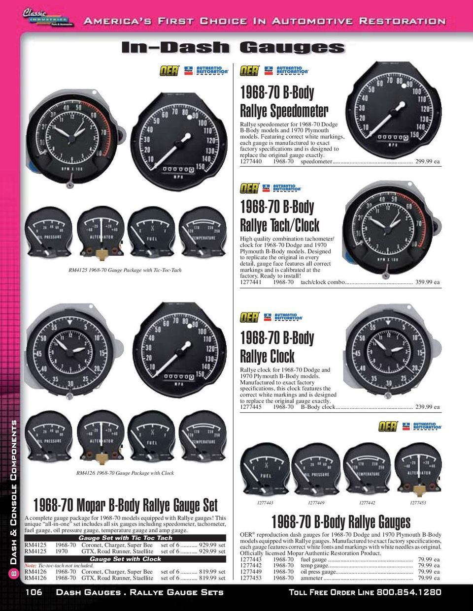 Reproduction Dash Pads Pdf 1968 Camaro Tic Toc Tach Wiring Diagram 99 Ea Rm4125 70 Gauge Package With
