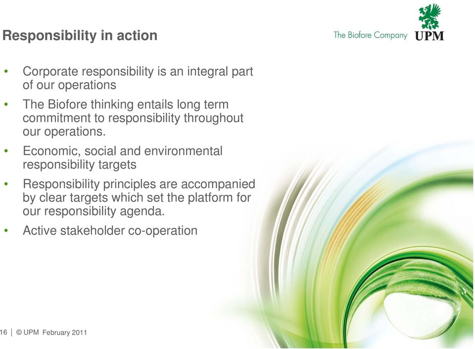 Economic, social and environmental responsibility targets Responsibility principles are accompanied
